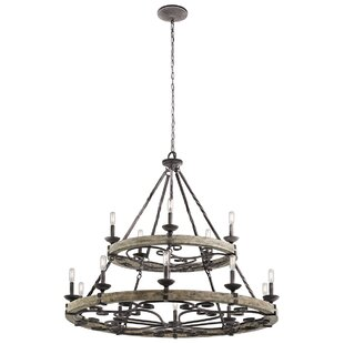 Laurel Foundry Modern Farmhouse Yasmin 15-Light Wagon Wheel Chandelier