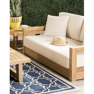 Lakeland Teak Loveseat with Cushions by Rosecliff Heights