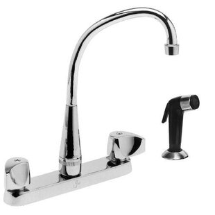 Just Manufacturing Double Handle Kitchen Faucet with Side Spray