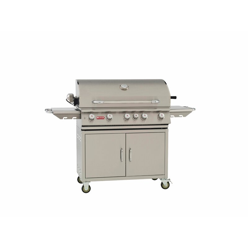 Bull Outdoor Brahma Cart 5-Burner Propane Gas Grill with ...