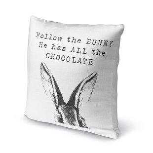 Follow the Bunny Throw Pillow