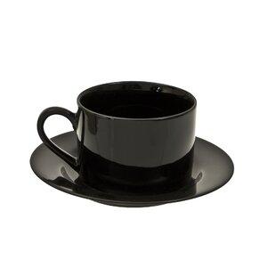 Black Rim 6 Oz Teacup And Saucer Set Of