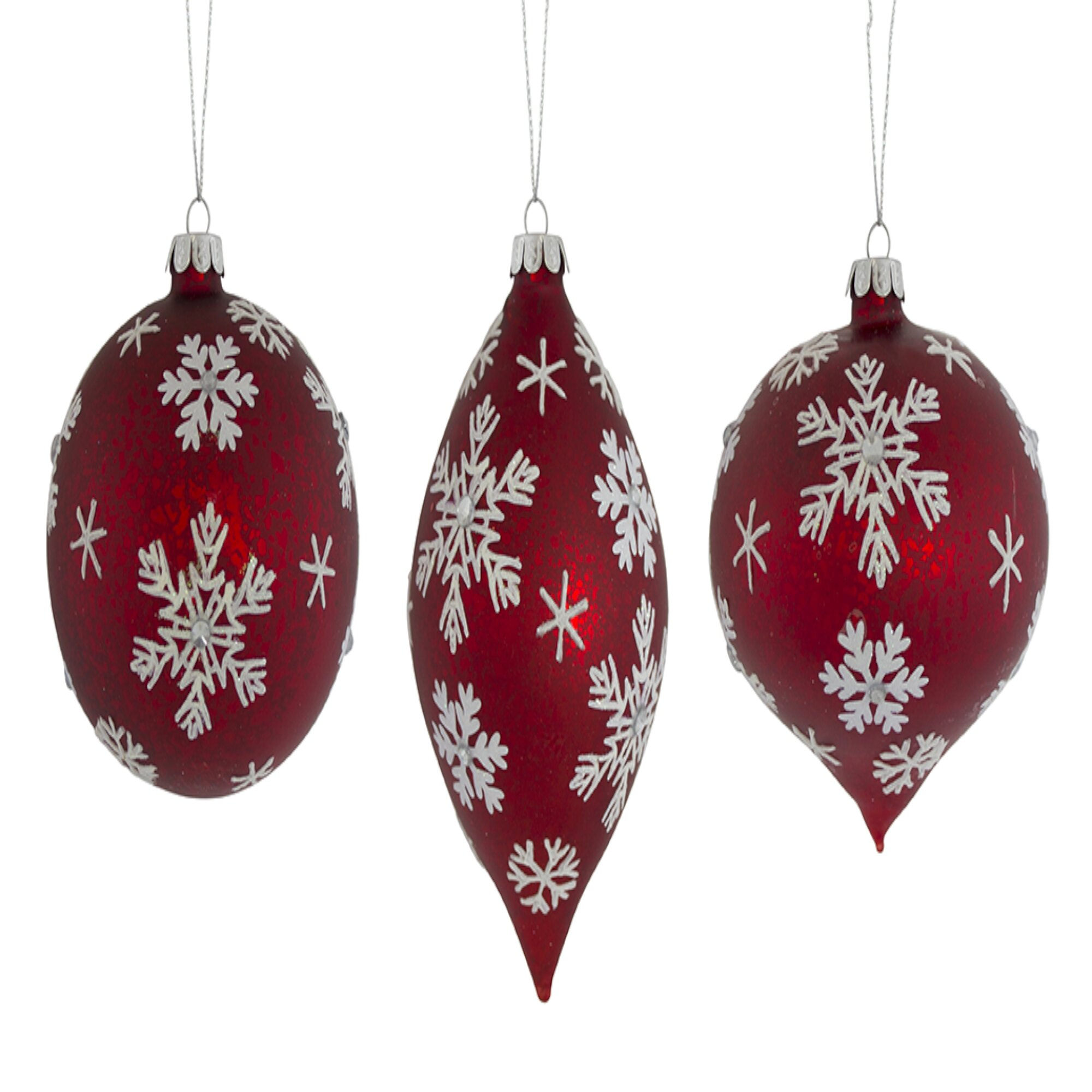 The Holiday Aisle 6 Piece Snowflake Glass Finial Ornament Set Wayfair