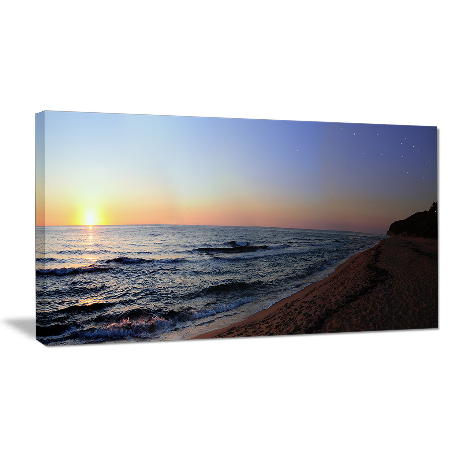 Designart Sunset Beach Panorama Photographic Print On Wrapped Canvas Wayfair