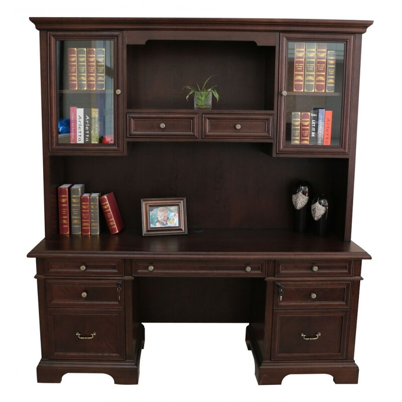 Darby Home Co Bruch Solid Wood Executive Desk With Hutch Wayfair
