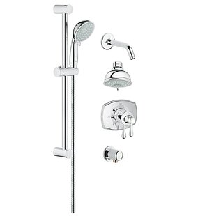 Purchase GrohFlex Pressure Balance Adjustable Shower Head Complete Shower System By Grohe