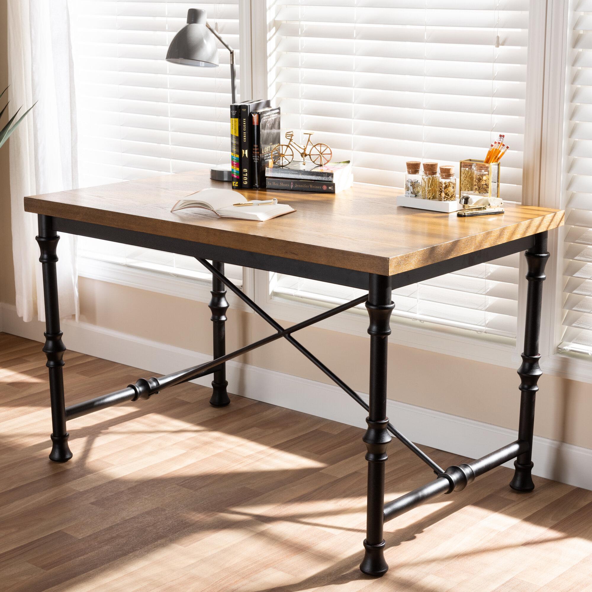 rustic industrial desk l shaped williston forge alexandre vintage rustic industrial desk wayfair