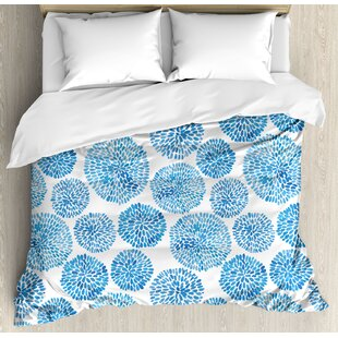 Watercolor Ethnic Anese Flower Circle Petal Pattern Spring Inspired Hand Drawn Print Duvet Cover Set