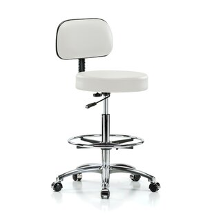 Height Adjustable Exam Stool With Basic Backrest And Foot Ring by Perch Chairs & Stools No Copoun