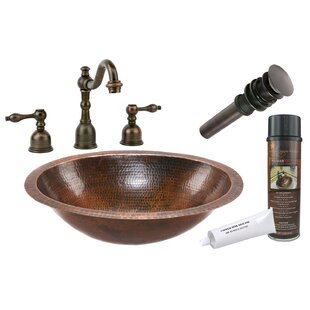 Hammered Metal Oval Undermount Bathroom Sink with Faucet By Premier Copper Products