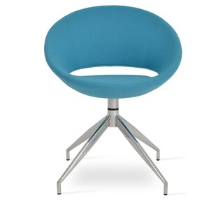 Crescent Spider Swivel Side Chair in Camira Wool - Turquoise by sohoConcept