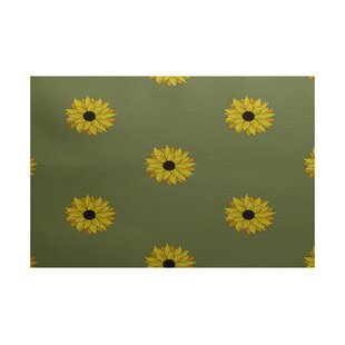 Laniel Sunflower Frenzy Flower Print Green Indoor/Outdoor Area Rug