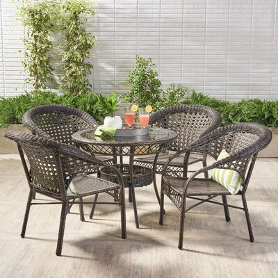 Charis 5 Piece Dining Set Color: Light Brown/Dark Brown by Beachcrest Home