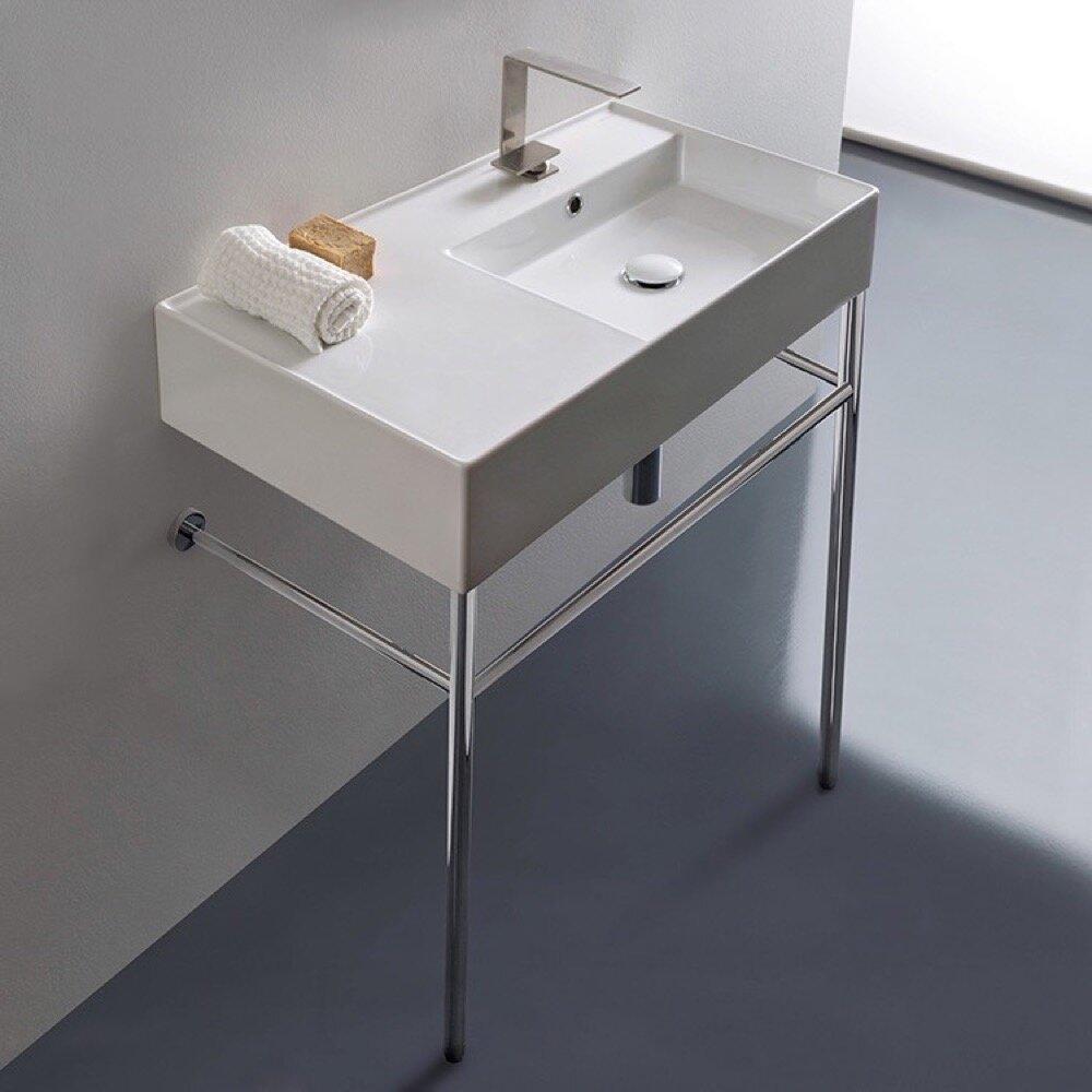 Scarabeo By Nameeks Teorema 2 White Ceramic Rectangular Console Bathroom Sink With Overflow Wayfair