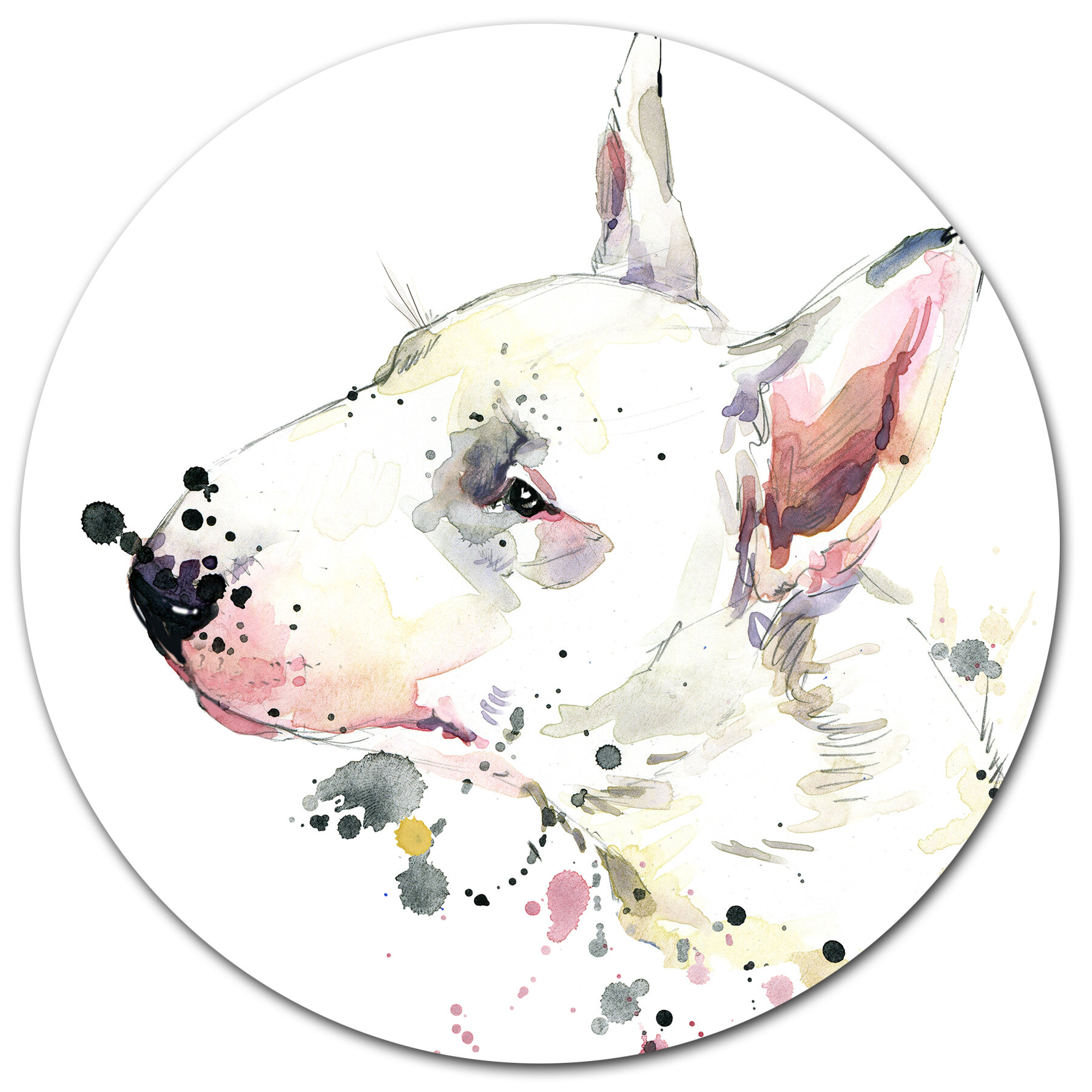 Polycotton Fabric NEW Crafts Pet DOG BULL TERRIER  WHITE BROWN Metre Material