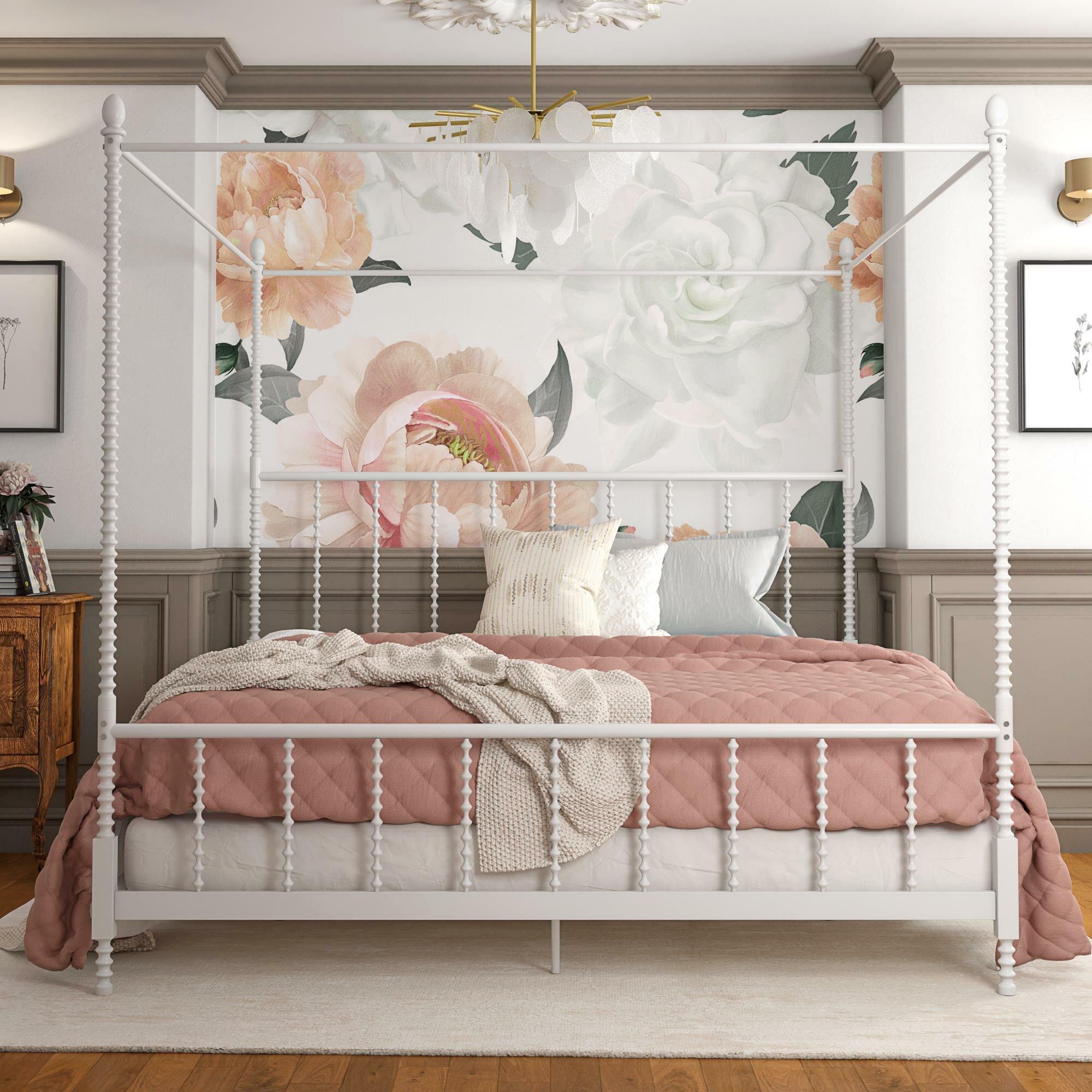 Gracie Oaks Karlee Metal Canopy Bed