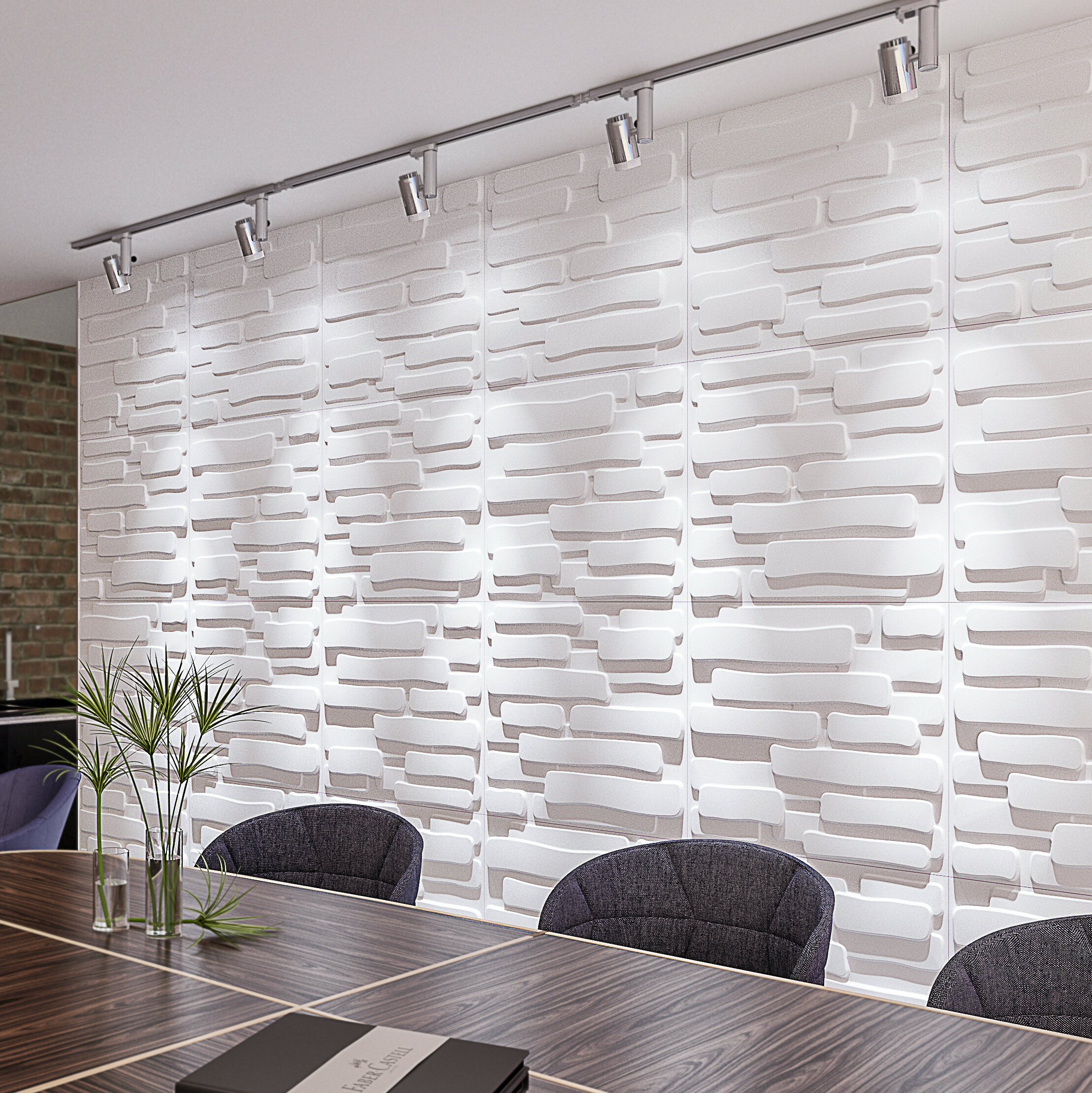 3d fibre decorative wall panelspaintable plant fibre designtextured eco friendly modern wall decor slab