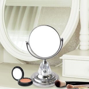 Dittmer Mini Round Double Sided Magnifying Standing Makeup/Shaving Mirror By Charlton Home