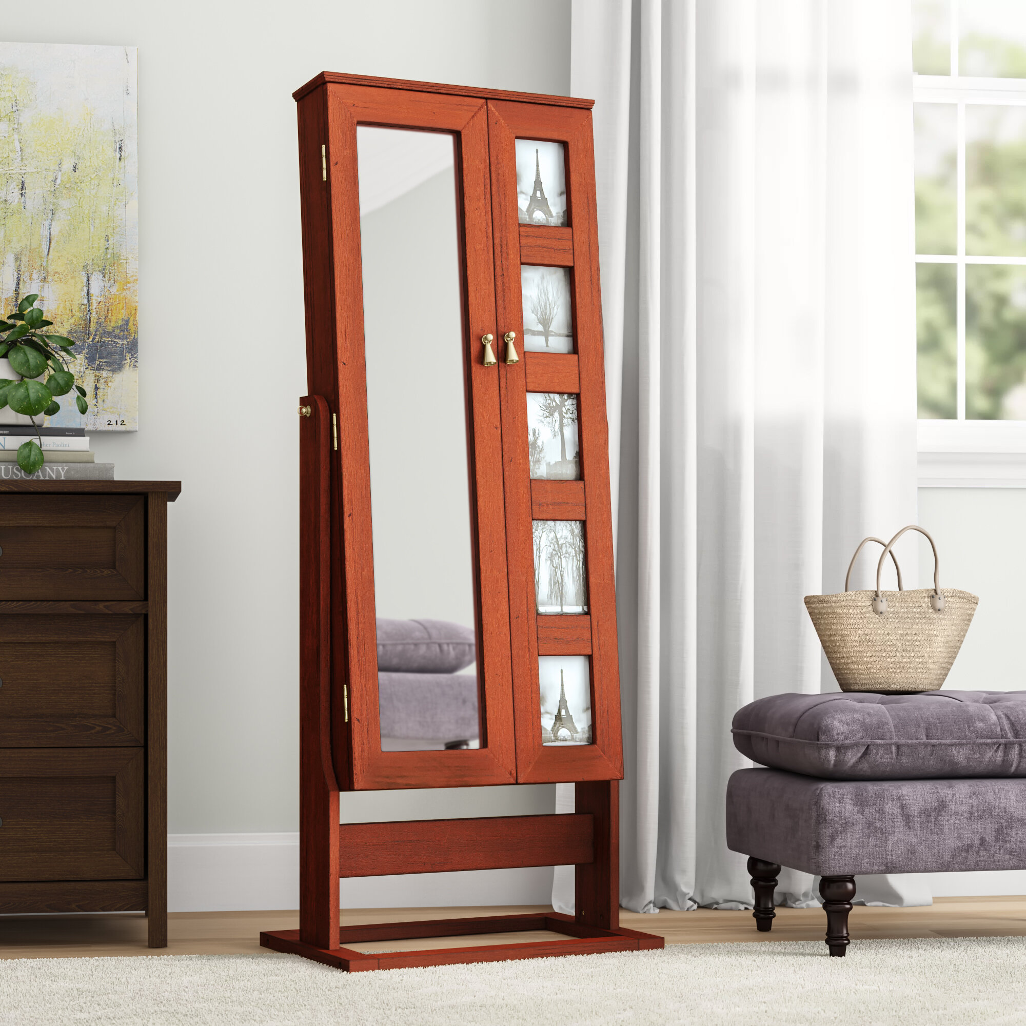 Red Barrel Studio Remsen Free Standing Jewelry Armoire With Mirror Reviews Wayfair
