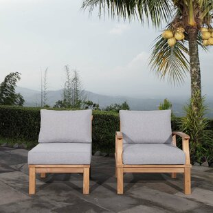 Cobb Outdoor Teak 2 Piece Patio Chair Set with Cushions by Rosecliff Heights