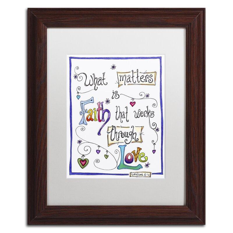 Trademark Art Words Of Faith Through Love Framed Textual Art Print On Canvas Wayfair