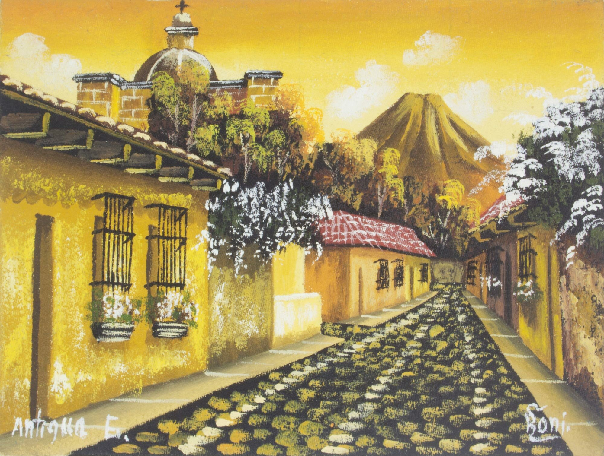 Bloomsbury Market \'Sunset in Antigua Guatemala\' Oil Painting Print ...