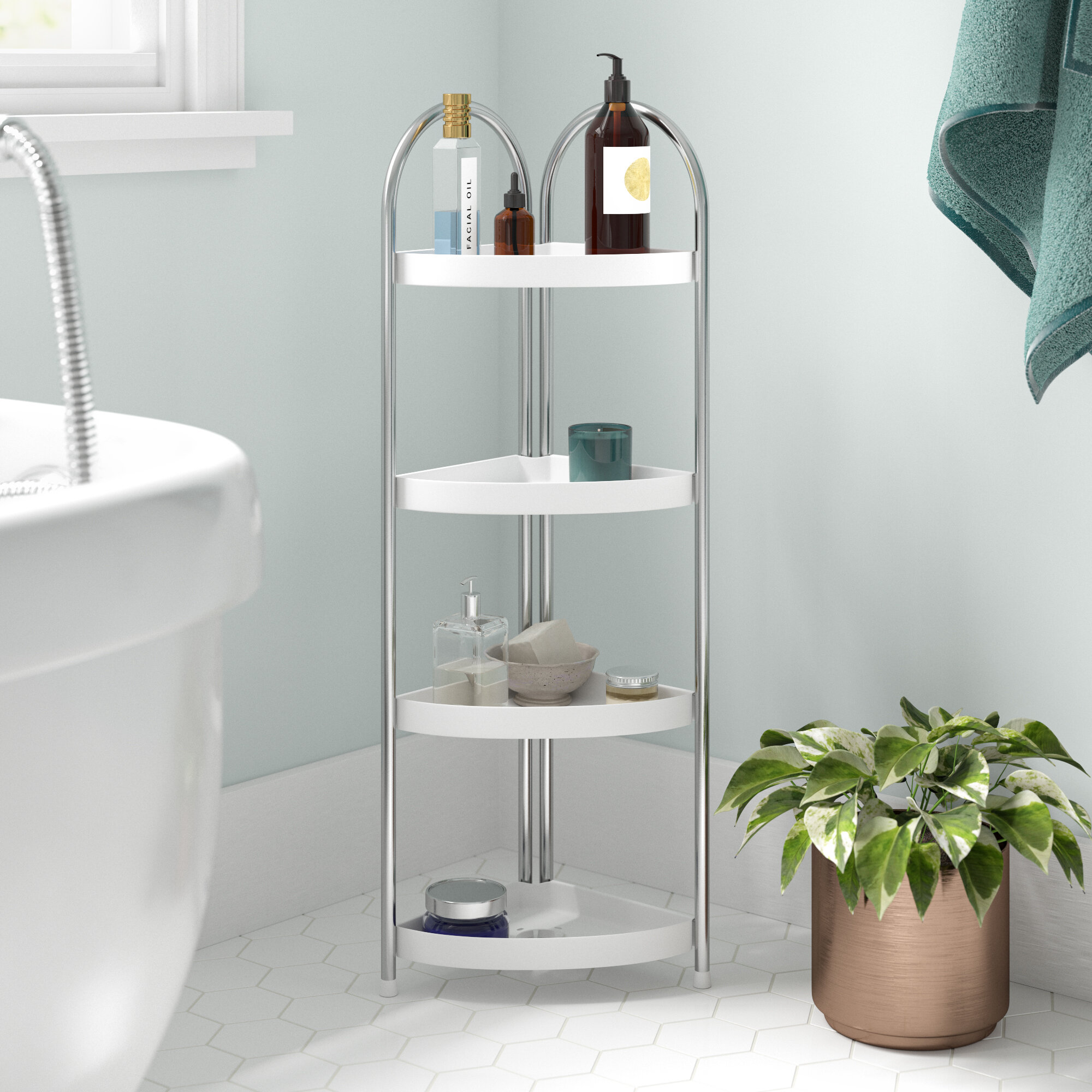 4 Tier Corner Bathroom Shelf Unit