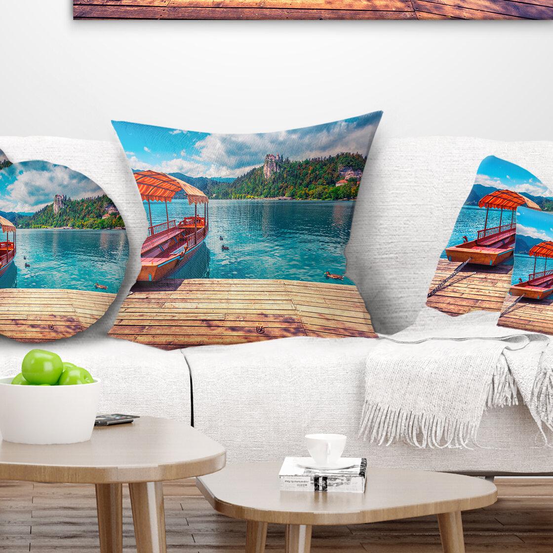 East Urban Home Printed Boat In Lake Bled In Julian Alps Pillow Wayfair