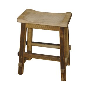 Tehama 24 Barnwood Saddle Stool Millwood Pines