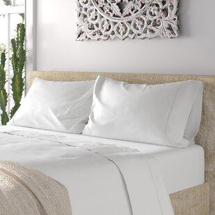 Ouatchia 300 Thread Count Solid Color 100% Cotton 4 Piece Sheet Set