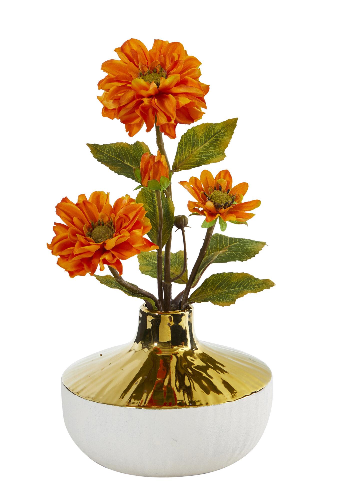 Mercer41 Artificial Zinnia Floral Arrangement In Vase Wayfair