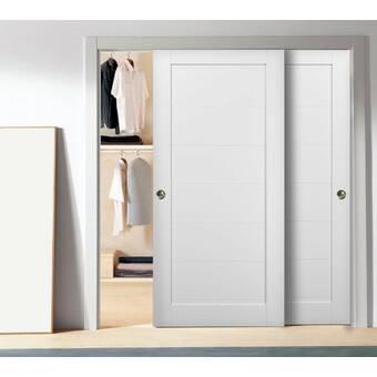 Sartodoors Quadro Glass Sliding Closet Doors With Installation Hardware Kit Wayfair