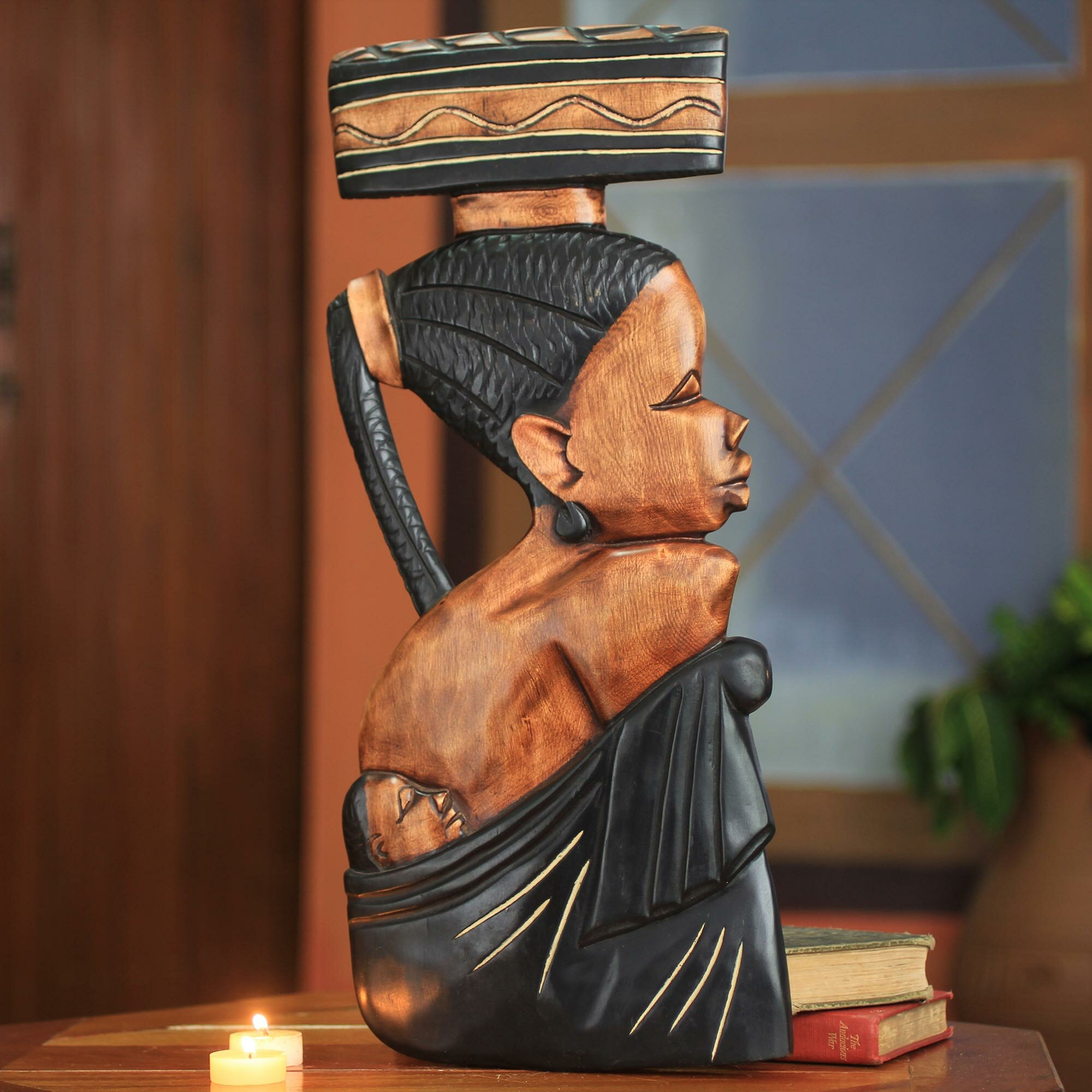 Hand Carved African Wood Sculptural Wall Décor