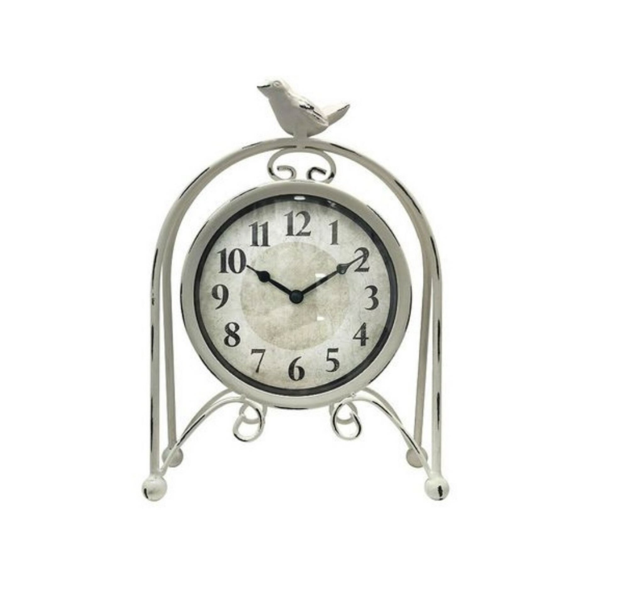 One Allium Way Analog Metal Quartz Table Clock In White Reviews Wayfair