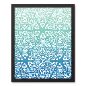 U0027Blue Tribal Patternu0027 Framed Graphic Art Print On Canvas