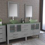 Leisa 71 Double Bathroom Vanity Set with Mirror by Wrought Studio