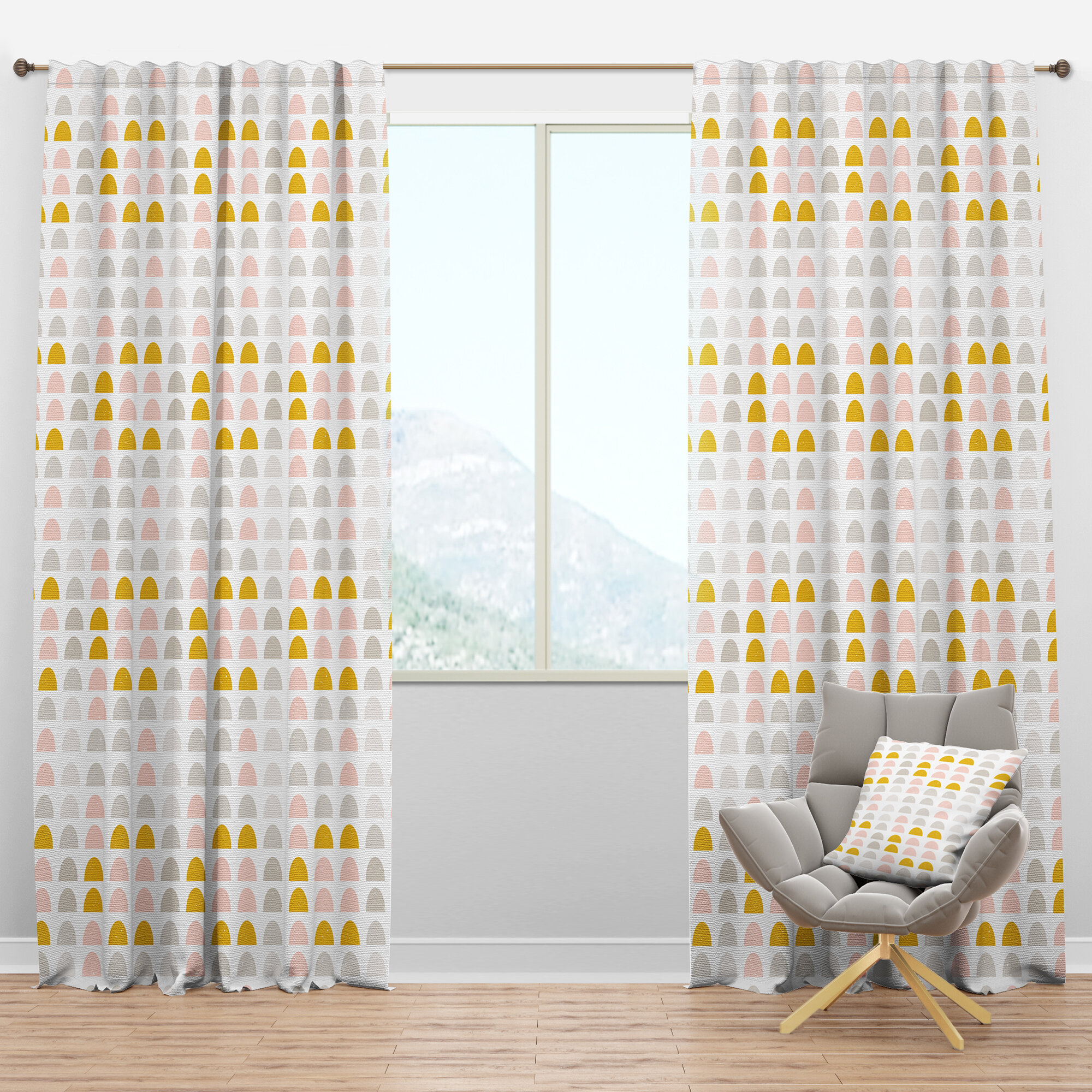 Designart Mid Century Circular Iii Geometric Semi Sheer Thermal Rod Pocket Curtain Panels Wayfair