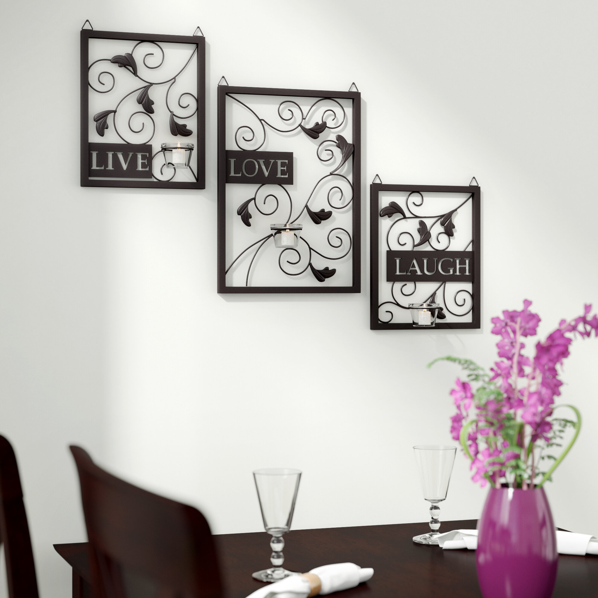 Andover Mills Live Love Laugh 3 Piece Black Wall Décor Set Reviews Wayfair