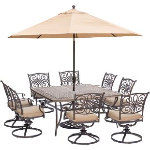 Carleton 9 Piece Square Metal Dining Set with Cushions by Fleur De Lis Living