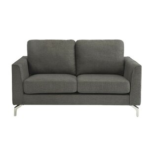 Mchugh Polyester Upholstered Padded Loveseat With Chrome Metal Legs, Gray by Orren Ellis