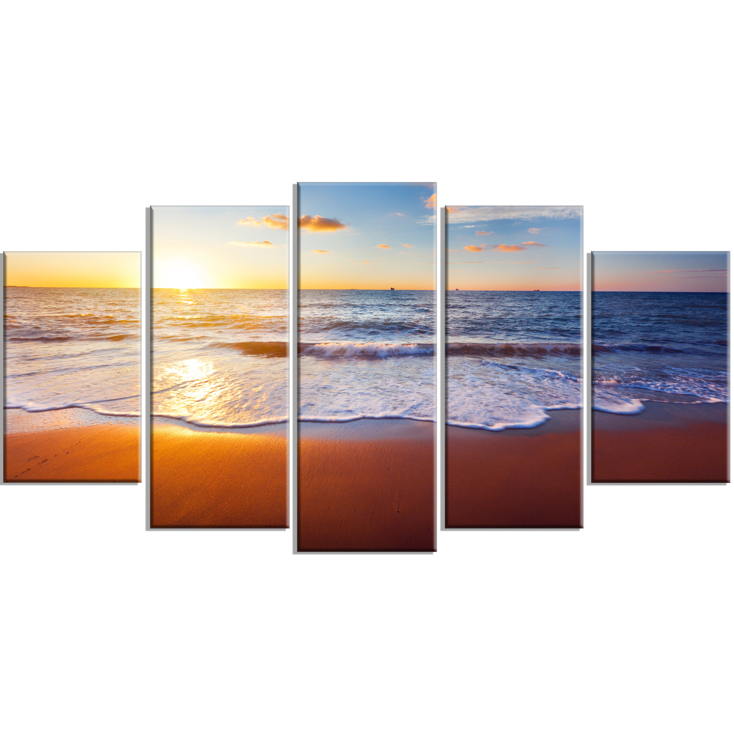 Highland Dunes Stunning Blue Waves And Brown Sand 5 Piece Wall Art On Wrapped Canvas Set Wayfair