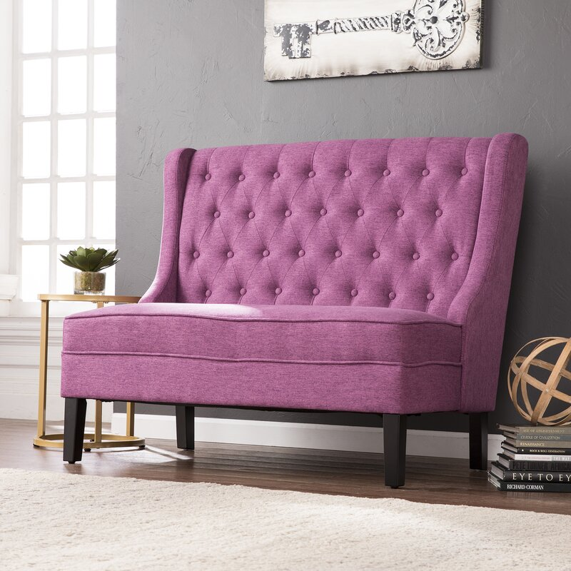 Halpin High Back Tufted Settee Upholstered Bench Amp Reviews