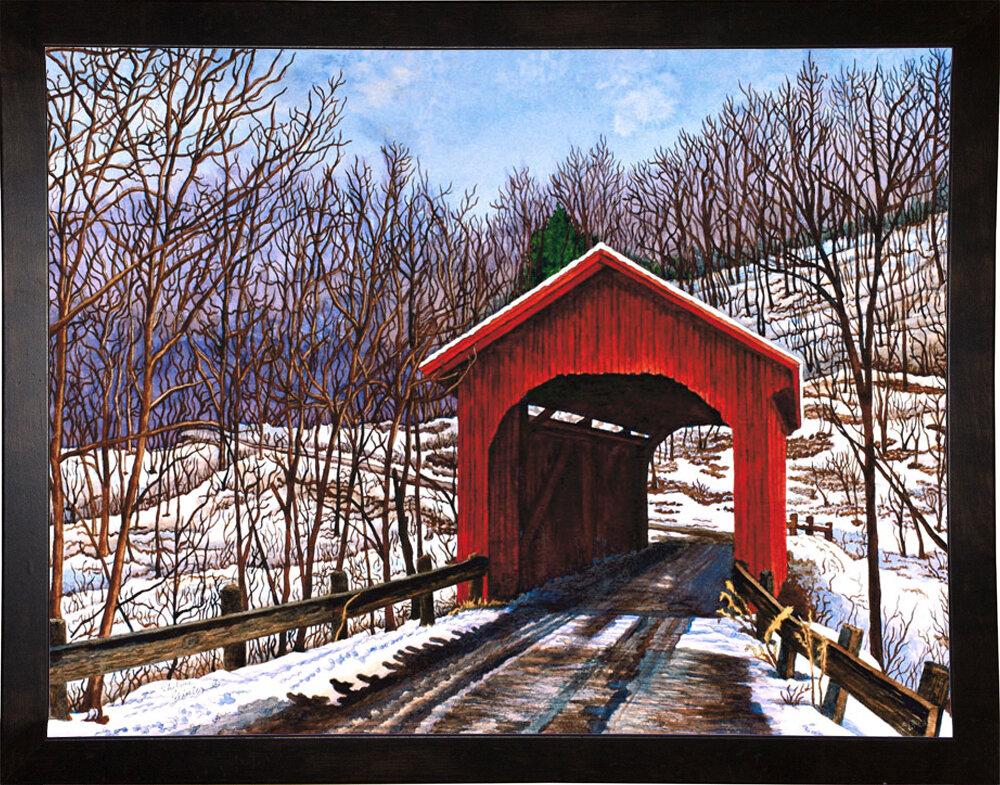 Millwood Pines Old Red Bridge In Vermont Graphic Art