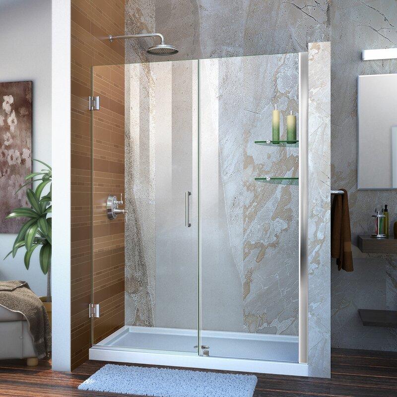 Dreamline Unidoor 52 X 72 Hinged Frameless Shower Door With