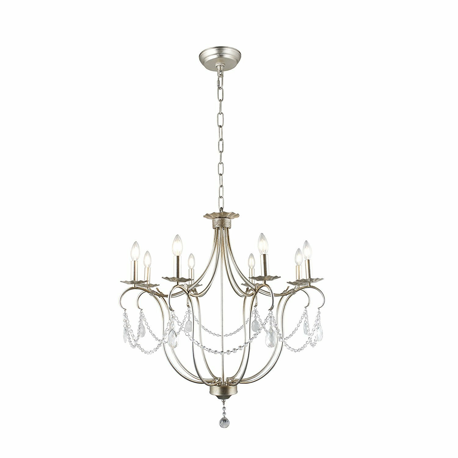 House Of Hampton Victorian Style Chandelier With Delicate Arms And Decorative Centre Column And Candelabra Lamps Ceiling Light Fixture Pendant Light Hallway Foyer Living Room Polished Silver 8 Light 32 Inches Wayfair Ca