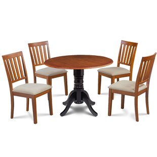 Casimir 5 Piece Drop Leaf Solid Wood Dining Set by Millwood Pines