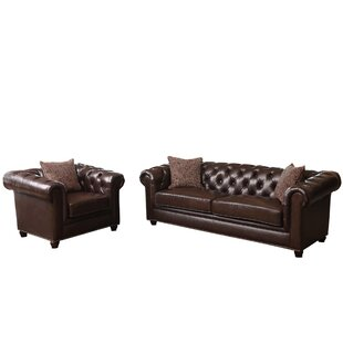 Darby Home Co Mitchem 2 Piece Leather Living Room Set