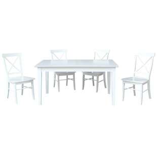 36 x 60 Extendable 5 Piece Dining Set with 4 X-Back Chairs
