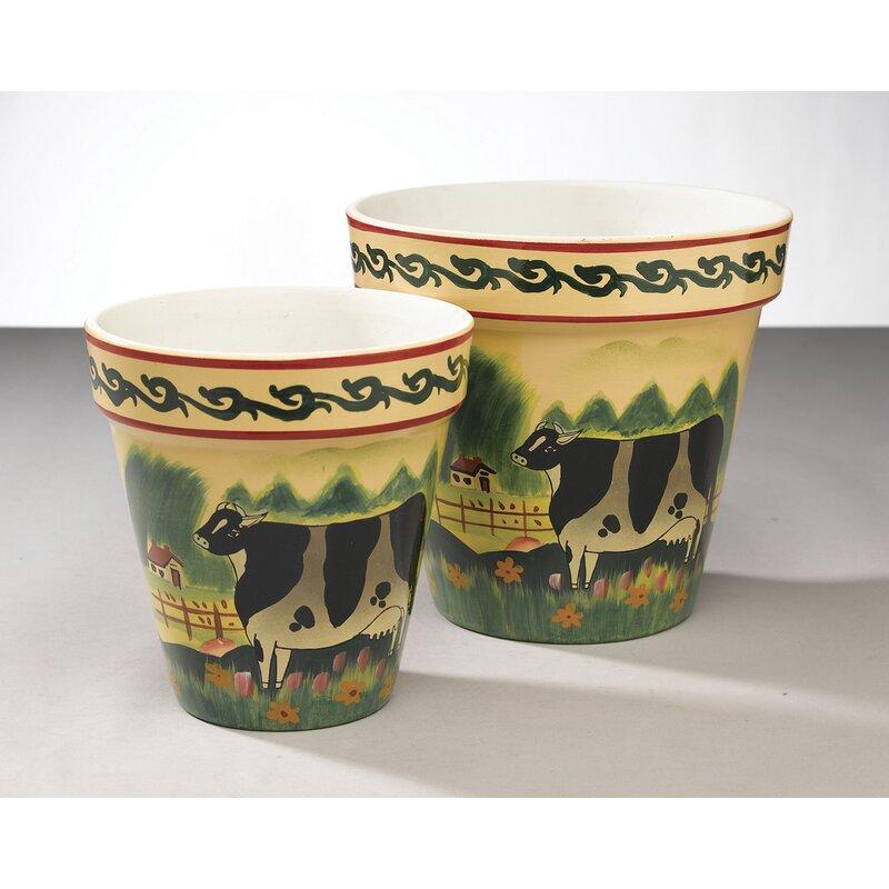 Fleur De Lis Living Matney 2 Piece Ceramic Pot Planter Set Wayfair