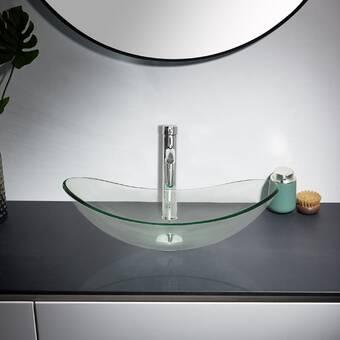 Tatahance Glass Circular Console Bathroom Sink With Faucet Wayfair
